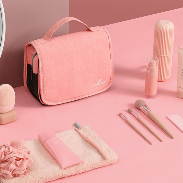 HMUNII Travel Cosmetics Storage Bag Women Waterproof Oxford Makeup Bags Bathroom Organizer Of Portable Bath Hook Toiletry Bags 2
