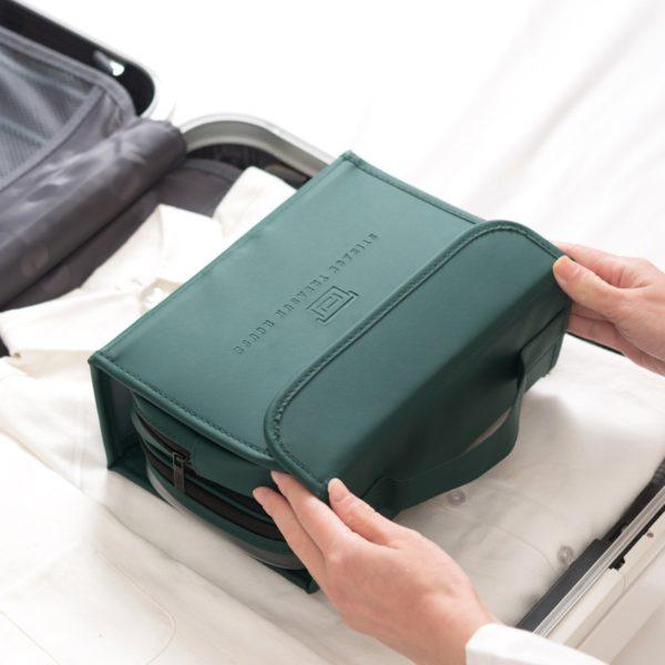 HMUNII New Fashion Women's PU Leather Waterproof Toiletries Storage Bag Beauty Organizer  Foldable Travel Accessories Unisex 4