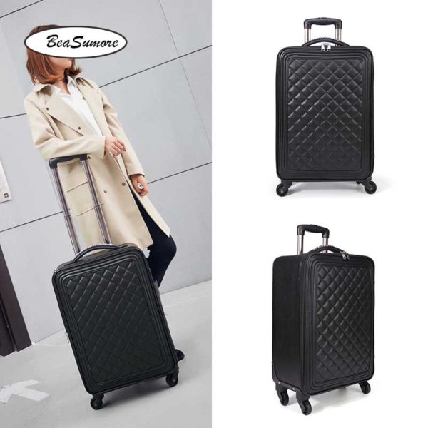 BeaSumore Retro Leather Rolling Luggag 1