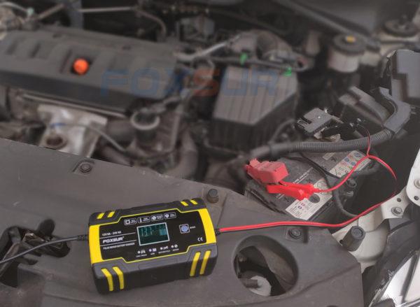 FOXSUR 12V 24V 8A Automatic Smart Battery Charger, 3-stage smart Battery Charger, Car Battery Charger for GEL WET AGM Battery 4