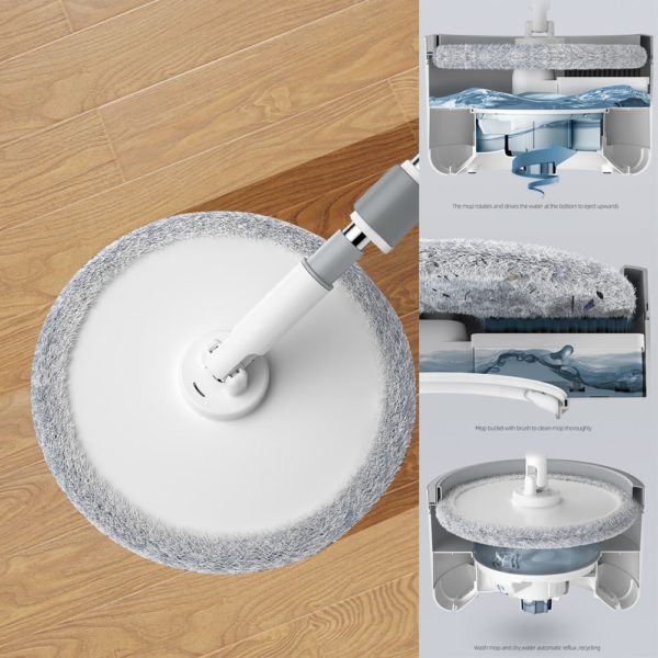 Magic Microfiber Mop With Round Bucket Adjustable Handle Household Sweeper Tile Cleaner Carton Flow System 360 Cleaning Tools 2