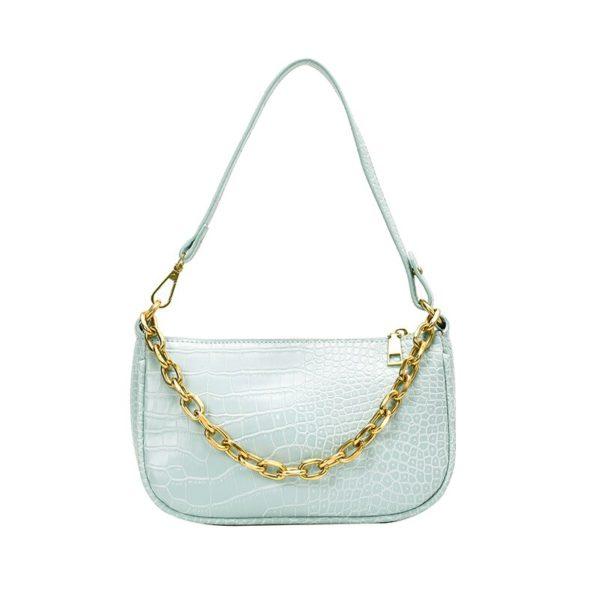 Chains baguette shape bag animal print alligator leather blue shoulder bag women ladies 2020 summer new handbag white black 5