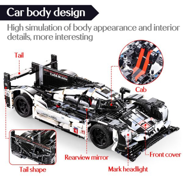 cada 1589PCS RC/non-RC Endurance racing Car Building Blocks For Technic MOC Model Remote Control vehicle Toys for kids 2