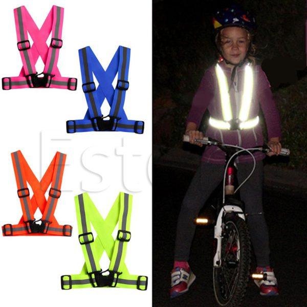 Children Kids Safety Adjustable Safety Reflective Visibility Striped Vest Jacket Highlight For Night Riding Cycling Sports 1