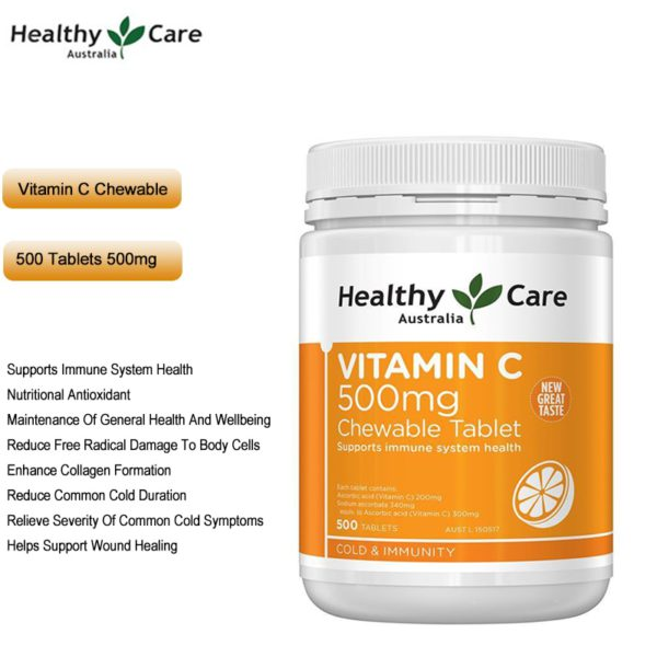 Healthy Care Vitamin C 500mg VC Chewable 500Tabs