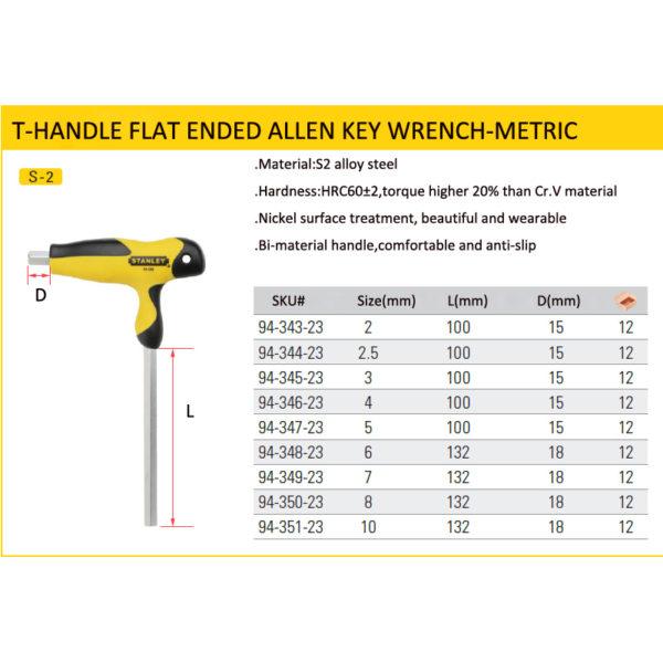 Stanley comfortable T-handle allen wrench 2mm/2.5mm/3mm/4mm/5mm/6mm/7mm/8mm/10mm T shape hexagon wrenches  t hex keys S2 steel 4
