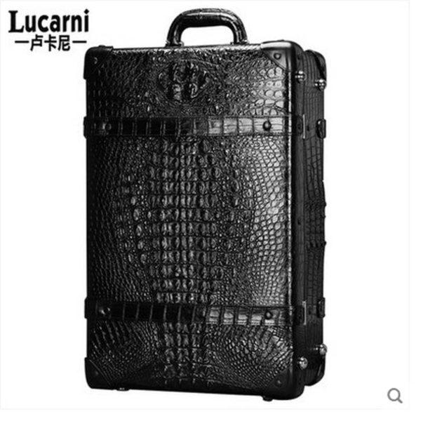 lukani  crocodile skin men Pull rod box men Travelling Suitcase