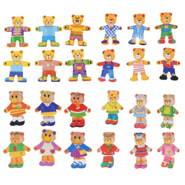 little bear change clothes Children's early education Wooden jigsaw Puzzle Dressing game Baby Wooden Puzzle toys free shipping 3