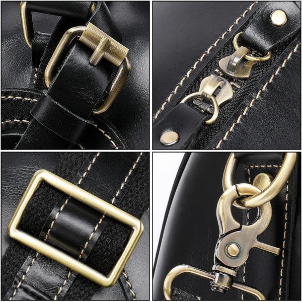 WESTAL Men Genuine Leather Travel Bag for Luggage 5