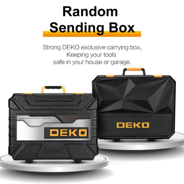 DEKO Household Tool Set General Hand Tool Kit with Plastic Tool box Storage Case Combination Hammer Socket Wrench Screwdriver 4