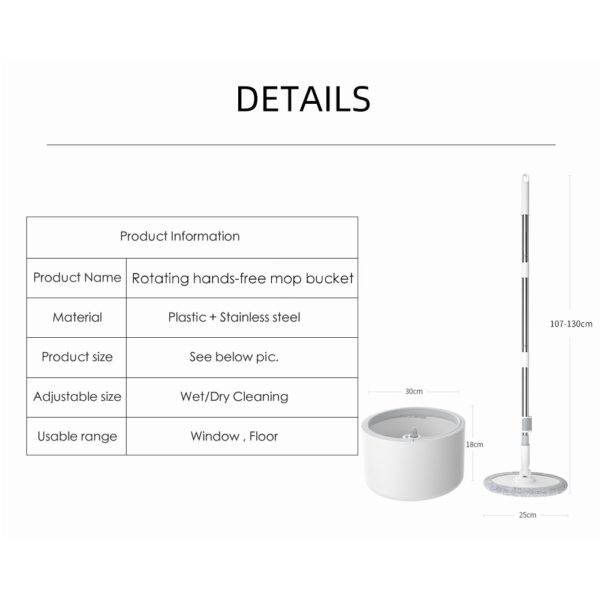 Magic Microfiber Mop With Round Bucket Adjustable Handle Household Sweeper Tile Cleaner Carton Flow System 360 Cleaning Tools 1