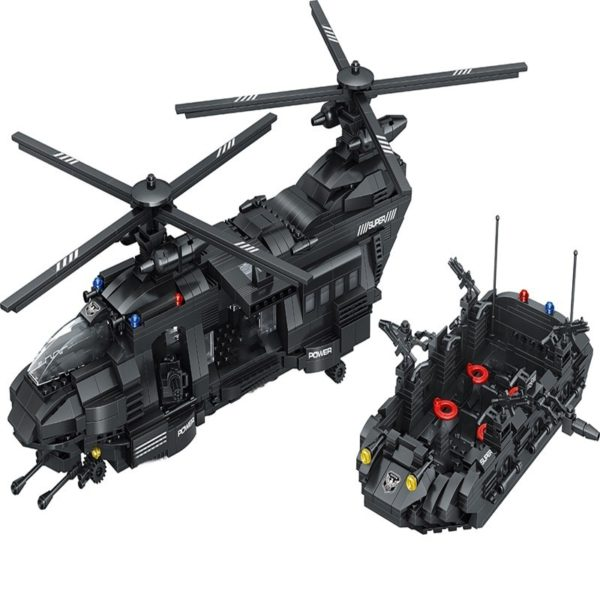 1351pcs Military Swat Team Special Police Force Transport Helicopter Building Blocks City Army Bricks Educational DIY Toy 1