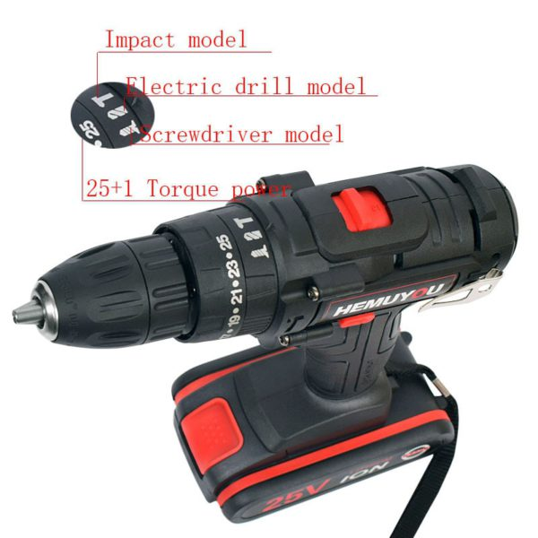 25V Impact Drill Electric Hand Drill Battery Cordless Electric Hammer Drill Electric Screwdriver Household Electric Tools 1