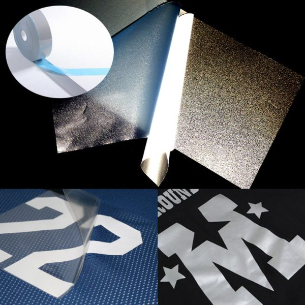 Safety Reflective Heat transfer Vinyl Film DIY Silver Iron on Reflective Tape For Clothing 3