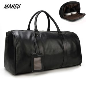 MAHEU Natural Cow Skin Travel Bags Waterproof Men's Leather Luggage