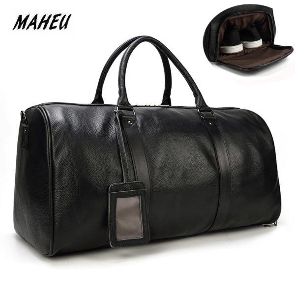 MAHEU Natural Cow Skin Travel Bags Waterproof Men's Leather Luggage