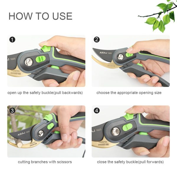 AIRAJ Pruning Shears Household Large Opening Garden Scissors Can Trim 28mm Fruit Tree Flowers Plastic Tube Trimming Tool 3