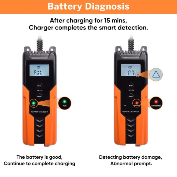 Deelife Automatic Car Battery Charger 12V Intelligent Auto Pulse Repair Maintainer Trickle Charging for Motorcycle Moto 6V 12 V 3