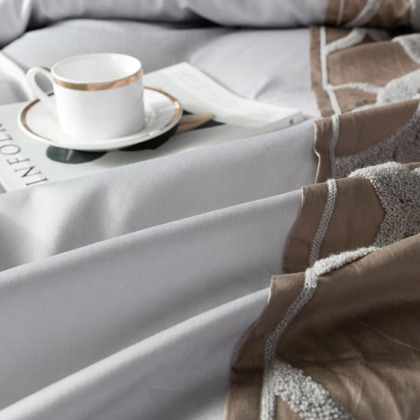 Grey white Bed Sheet Pillowcase Duvet cover set Luxury 60S Egyptian cotton queen king double size Bedding set Bed linen 3