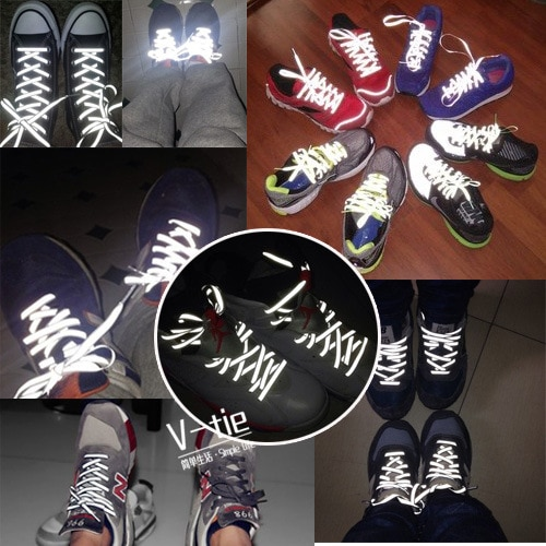 Creative Double-sided Reflective Shoelaces Fashion Tide Night Running Sports Shoes Hot Selling Wholesale Warning Laces 5