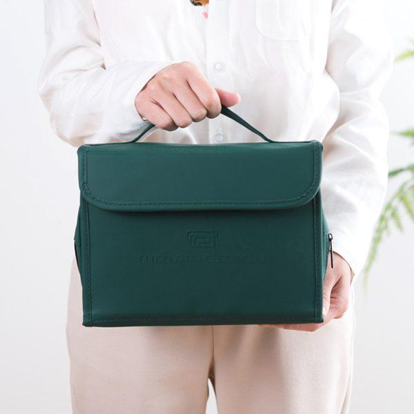 HMUNII New Fashion Women's PU Leather Waterproof Toiletries Storage Bag Beauty Organizer  Foldable Travel Accessories Unisex 5