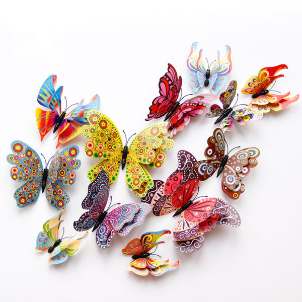 New style 12Pcs Double layer 3D Butterfly Wall Sticker on the wall Home Decor Butterflies for decoration Magnet Fridge stickers 1