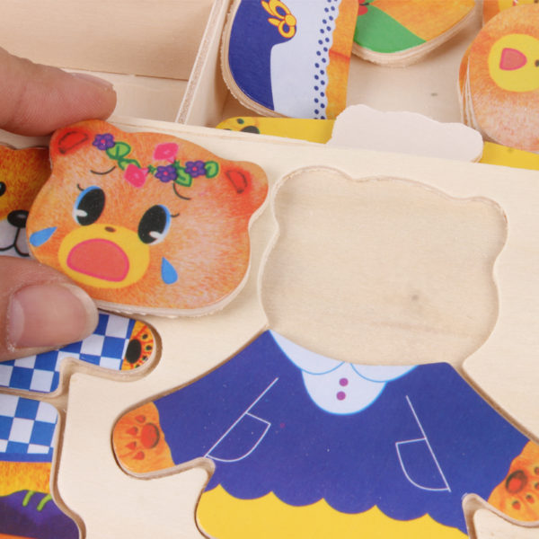 little bear change clothes Children's early education Wooden jigsaw Puzzle Dressing game Baby Wooden Puzzle toys free shipping 2
