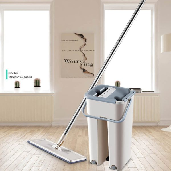Free Hand Washing Flat Mop with Bucket Lazy 360 Rotating Magic Mop With Squeezing Floor Cleaner Mop Household Cleaning Tool 1