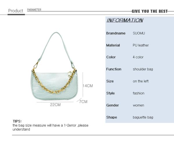 Chains baguette shape bag animal print alligator leather blue shoulder bag women ladies 2020 summer new handbag white black 1