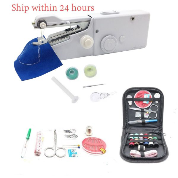 Portable Sewing Machine Mini Handheld Sewing Machine Cordless Electric Stitch Household Tool for Fabric Clothing Kids Cloth