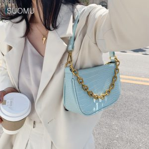Chains baguette shape bag animal print alligator leather blue shoulder bag women ladies 2020 summer new handbag white black