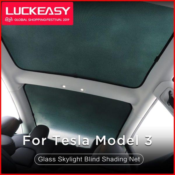 LUCKEASY for Tesla Model 3  Glass Roof Sunshade Car Skylight Blind Shading Net