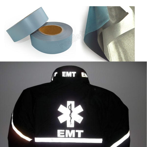High Visibility Safety Heat-transfer Vinyl Film DIY Silver Reflective Iron on Fabric Clothing Tape 4