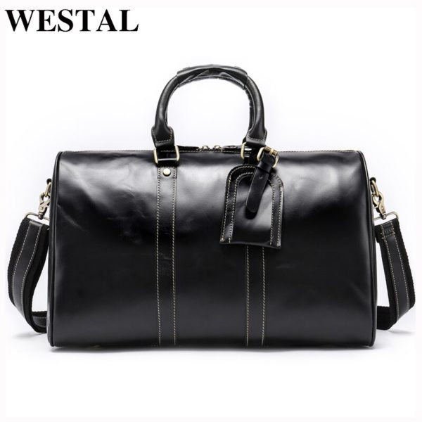 WESTAL Men Genuine Leather Travel Bag for Luggage 1