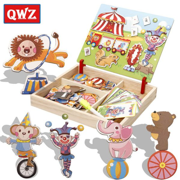 QWZ Wooden Kids Educational Toys Magnetic Puzzles Game Set Easel Dry Erase Board Fun Reusable Stickers For Children Gifts 5