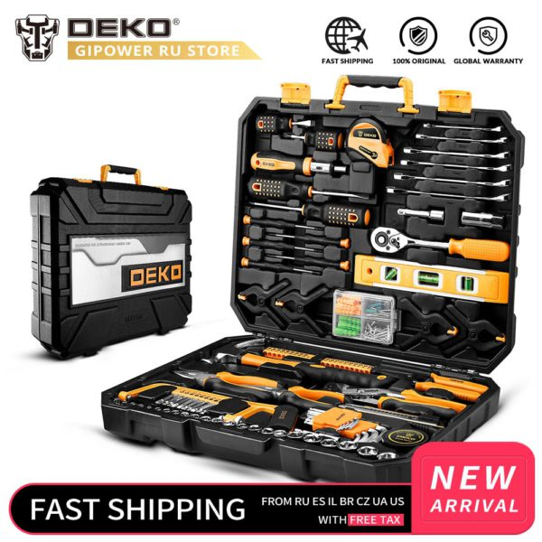 DEKO Household Tool Set General Hand Tool Kit with Plastic Tool box Storage Case Combination Hammer Socket Wrench Screwdriver