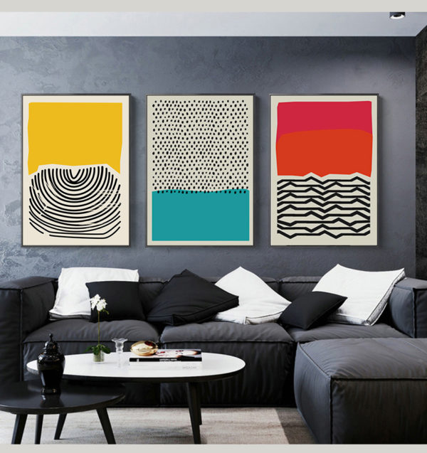 Modern Multicolored Abstract Geometric Wall Art Canvas Painting Picture Posters and Prints Gallery Kids Kitchen Home Decor 1