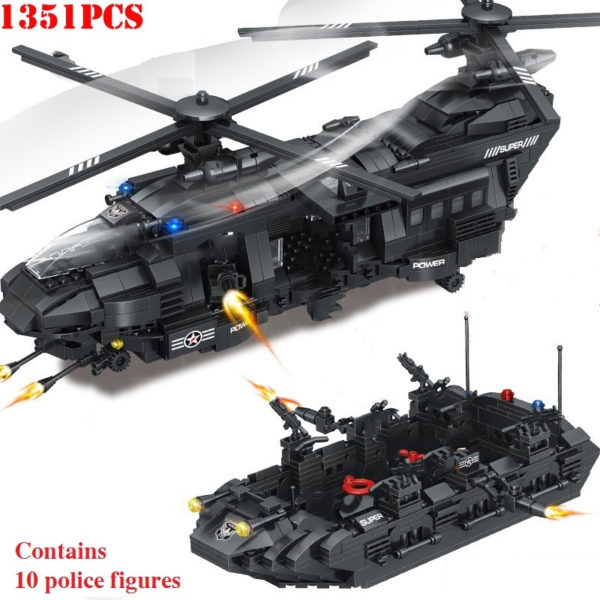 1351pcs Military Swat Team Special Police Force Transport Helicopter Building Blocks City Army Bricks Educational DIY Toy