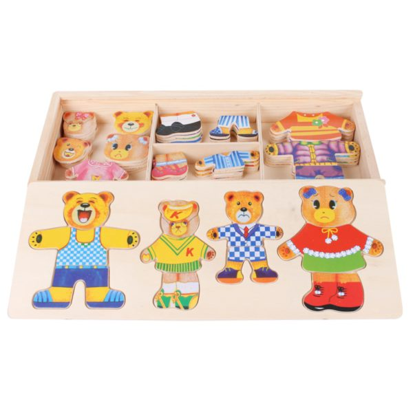 little bear change clothes Children's early education Wooden jigsaw Puzzle Dressing game Baby Wooden Puzzle toys free shipping 1