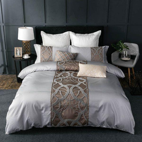Grey white Bed Sheet Pillowcase Duvet cover set Luxury 60S Egyptian cotton queen king double size Bedding set Bed linen