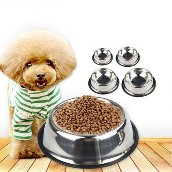 New Dog Cat Bowls Stainless Steel Travel Footprint Feeding Feeder Water Bowl For Pet Dog Cats Puppy Outdoor Food Dish 3 Sizes 2