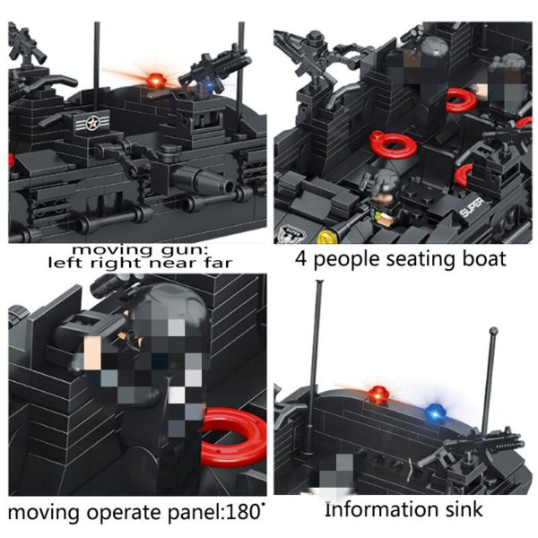 1351pcs Military Swat Team Special Police Force Transport Helicopter Building Blocks City Army Bricks Educational DIY Toy 5