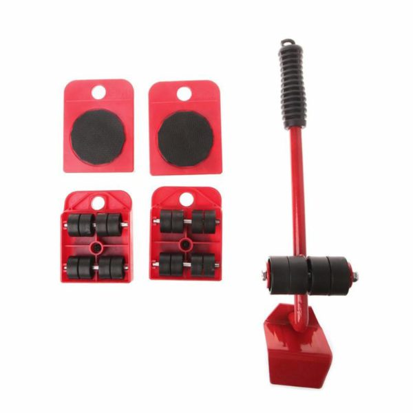 Furniture Mover Tool Set Furniture Transport Lifter Heavy Stuffs Moving Tool 4 Wheeled Mover Roller+1 Wheel Bar Hand Tools Set 4