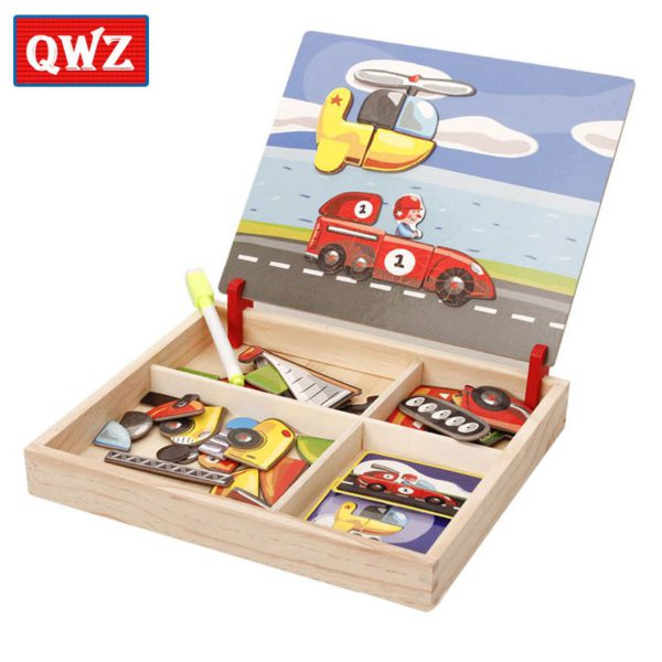 QWZ Wooden Kids Educational Toys Magnetic Puzzles Game Set Easel Dry Erase Board Fun Reusable Stickers For Children Gifts 2