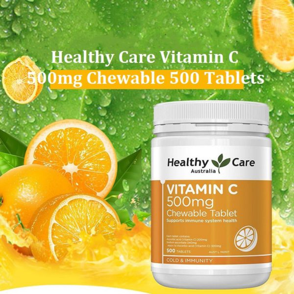 Healthy Care Vitamin C 500mg VC Chewable 500Tabs 1