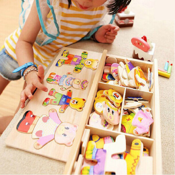 little bear change clothes Children's early education Wooden jigsaw Puzzle Dressing game Baby Wooden Puzzle toys free shipping