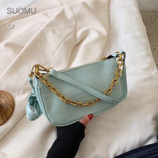 Chains baguette shape bag animal print alligator leather blue shoulder bag women ladies 2020 summer new handbag white black 2