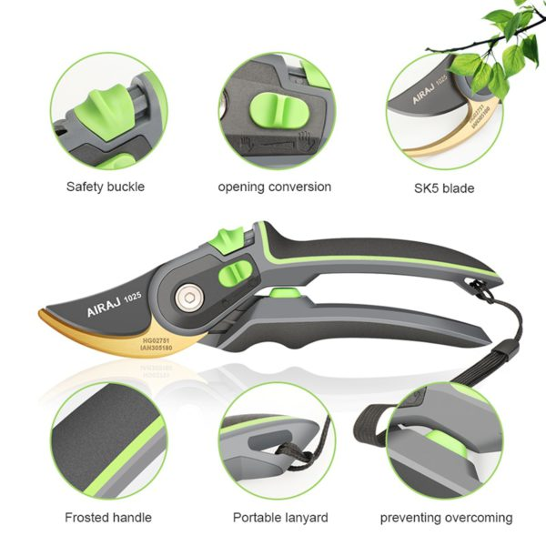 AIRAJ Pruning Shears Household Large Opening Garden Scissors Can Trim 28mm Fruit Tree Flowers Plastic Tube Trimming Tool 2