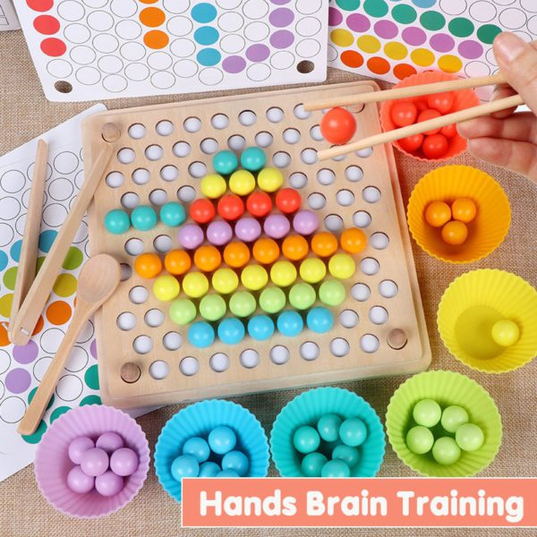 Kids Toys Montessori Wooden Toys Hands Brain Training Clip Beads Puzzle Board Math Game Baby Early Educational Toys For Children 3