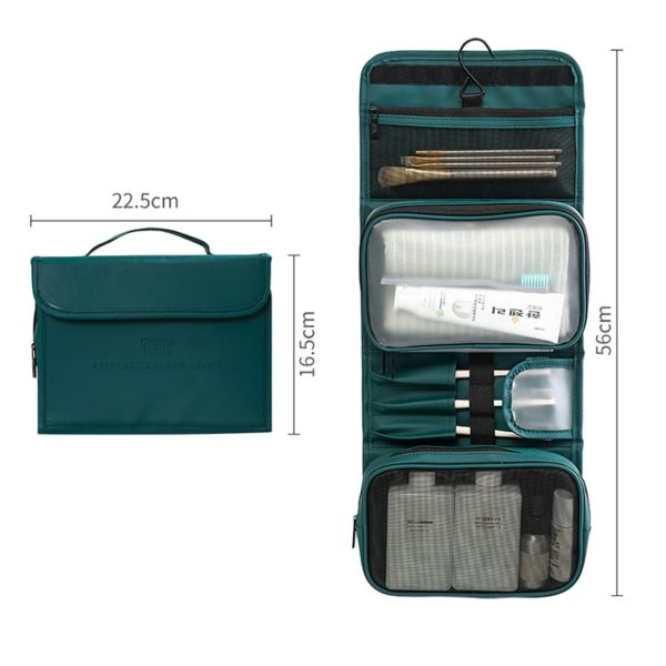 HMUNII New Fashion Women's PU Leather Waterproof Toiletries Storage Bag Beauty Organizer  Foldable Travel Accessories Unisex 1